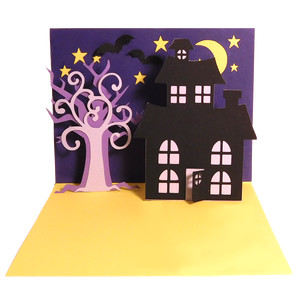 haunted house pop-up card