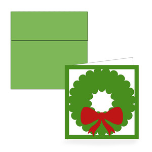 square wreath folded card & envelope