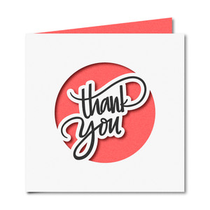 'thank you' cut out square card