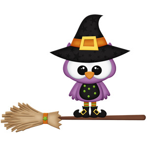 halloween owl witch on broom