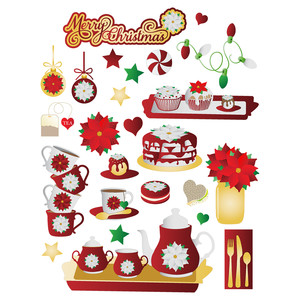 christmas poinsettia tea party stickers