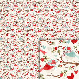 winter bird background paper