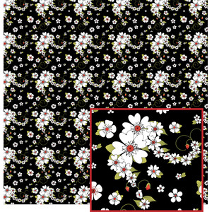 flowers on black pattern