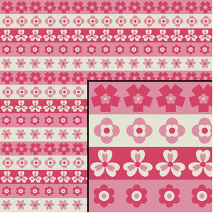 pink flower stripes seamless pattern
