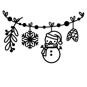 christmas border with snowman