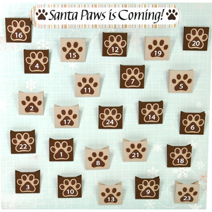 paw prints pocket advent calendar