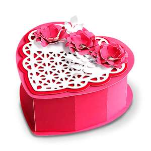 heart shaped box with lace heart and 3d flowers