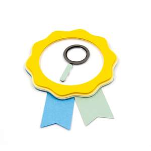magnifying glass badge