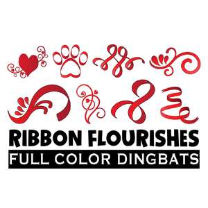 full-color ribbon flourishes dingbats font