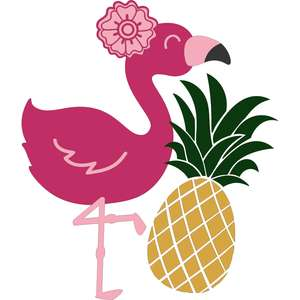 pineapple and flamingo