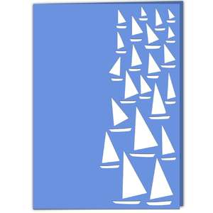 sailing boats lace edged card