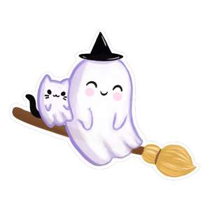 kawaii ghost on broomstick