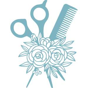 comb and scissors floral