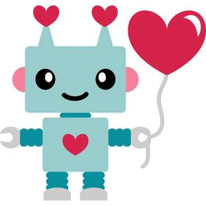 robot love and balloon