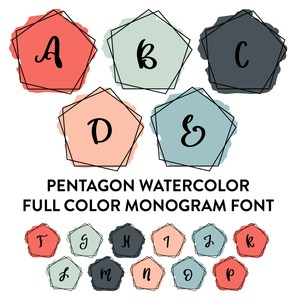 watercolor pentagon monogram frames full color font