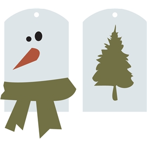 snowman and tree tags