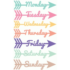 days of the week word arrows