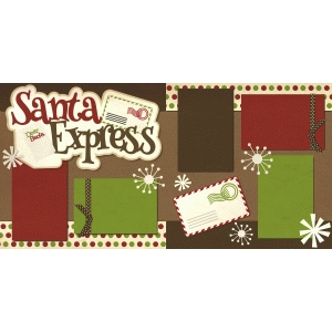 santa express christmas 2 page scrapbook kit