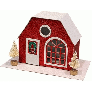 putz-style glitter house: half-hex roof