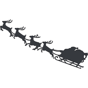 santa and sleigh with reindeer silhouette