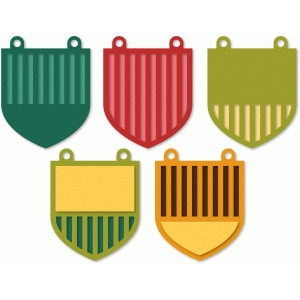 striped banners - shield shape