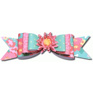3d triple layered bow with flower