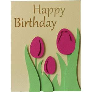 happy birthday tulips layered card