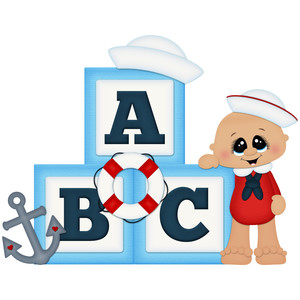 ahoy baby boy with blocks