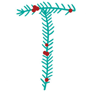 christmas holly alphabet t