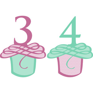 flourished cupcake numbers 3 and 4