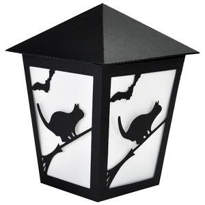 broomstick kitty halloween lantern