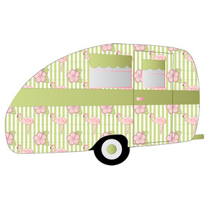 retro flamingo-themed camper trailer