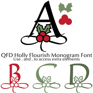 qfd holly flourish monogram font