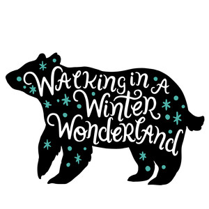 winter wonderland bear silhouette