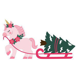 unicorn pulling a christmas tree