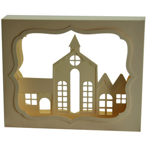 village church shadow box decoration