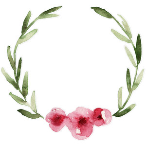 pink watercolor flower wreath leaves