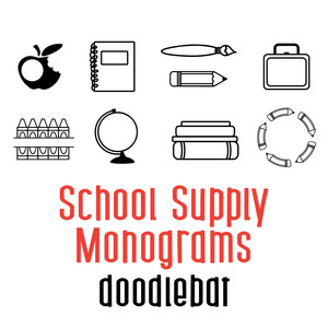 school supply monogram doodlebat