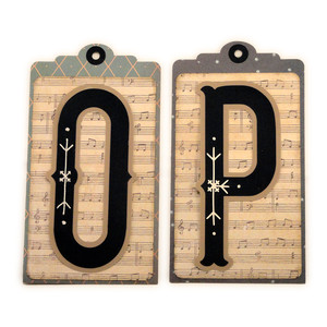 initial o p stitched pocket tag or card