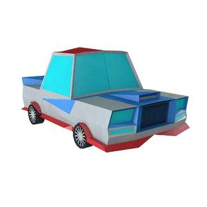 lowpoly cartoon crazy car