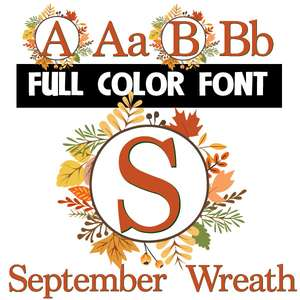 september wreath color font