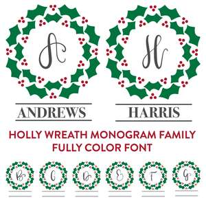 holly wreath monogram family full color font