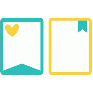 journal cards - hearts & banners