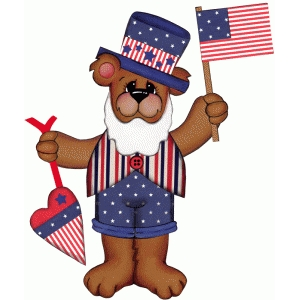 4th of july bear print and cut