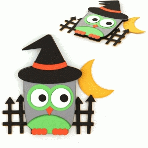 halloween owl layered embellishment