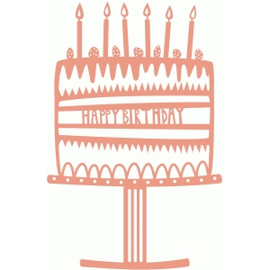 happy birthday cake papercut shape