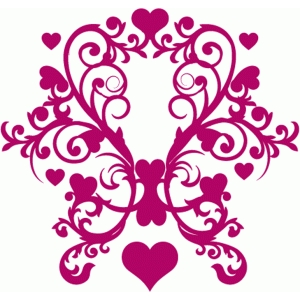 heart damask frame