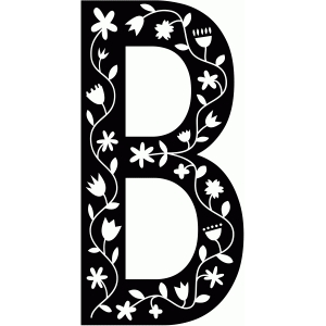 scandinavian folk decorative monogram b