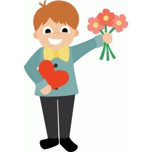 boy with chocolates and flowers