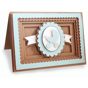 baby buggy shadow box folded card